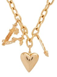 Versace Heart And V Charm Necklace Gold