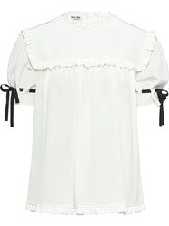 Miu Miu Crepe De Chine Top White