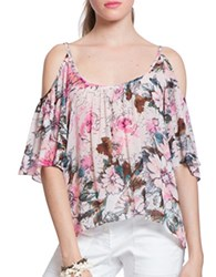 Plenty By Tracy Reese Printed Cold Shoulder Peasant Top Pink