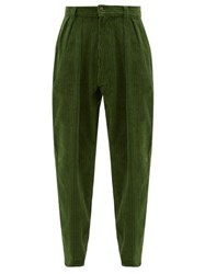 E. Tautz Chore Cotton Corduroy Tapered Trousers Green