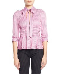 Balenciaga Striped Tie Neck Ruched Jersey Blouse Pink White Pink White