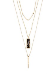 Cara Tiered Linear Charm Necklace Gold