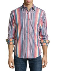 Robert Graham Stripe Print Long Sleeve Sport Shirt Multi