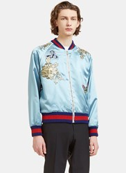 Gucci Embroidered Satin Teddy Bomber Jacket Blue
