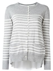 Sacai Cupro Insert Striped Cardigan Grey
