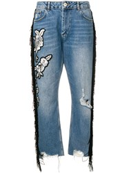 Twin Set Embroidered Cropped Jeans Blue