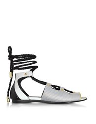 Vionnet Pearl Grey Stripe Leather And Orchid White Black Elaphe Lace Up Flat Sandal Gray