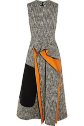 Roksanda Ilincic Decker Cady Paneled Tweed Midi Dress Orange