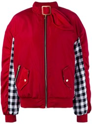 House Of Holland Gingham Panel Bomber Jacket Women Cotton Polyester 8 Red