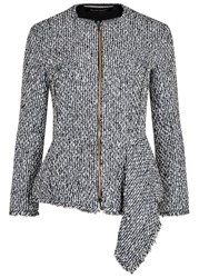 Roland Mouret Delen Peplum Tweed Jacket Navy