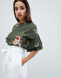Ax Paris Floral Top With Frill Sleeve Green