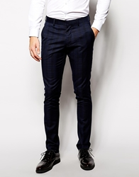 Vito Check Suit Trousers In Slim Fit Admiralblue