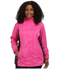 Columbia Plus Size Tested Tough In Pink Rain Jacket Ii Pink Ice Black Women's Coat