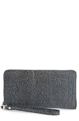 Women's Halogen Zip Around Leather Wallet Black Stingray