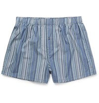 Paul Smith Mith Triped Cotton Boxer Hort Blue
