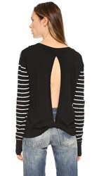 Pam And Gela Twisted Back Sweater Black With Cream Stripe