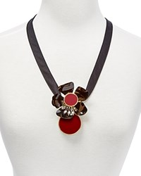Marni Metal Flower And Resin Pendant Necklace 21 Black Cherry