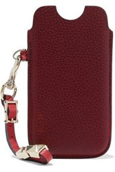 Valentino Studded Textured Leather Iphone 5 Case Claret