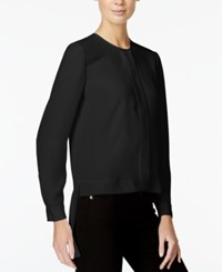 Armani Exchange High Low Button Down Top Solid Black