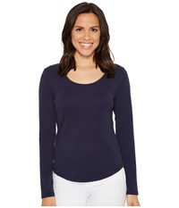 Lilla P Long Sleeve Scoop Neck Navy Women's Clothing