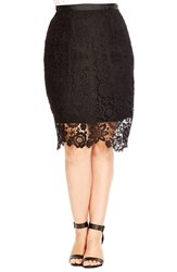 Plus Size Women's City Chic 'Pretty' Lace Overlay Skirt