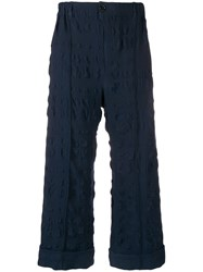 Julien David Textured Cropped Trousers Blue