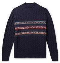 Beams Plus Cable Knit Fair Isle Wool Blend Sweater Navy