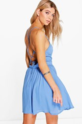 Boohoo Strappy Back Woven Skater Dress Blue