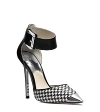 Michael Kors Zady Ankle Strap Houndstooth Pump Black White