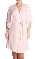 Plus Size Women's Barefoot Dreams 'Luxe Milk' Short Robe Pink