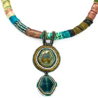 The Studioelle Colorburst Double Drop Cabochon Necklace Blue