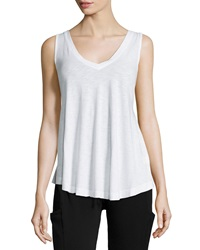 Pink Lotus Mesh Panel Burnout Racerback Tank White