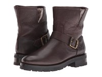 Frye Natalie Short Engineer Lug Dark Brown Waterproof Waxed Pebbled Leather Shearling Women's Pull On Boots