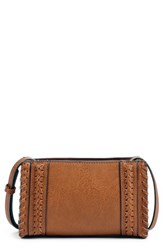 Sole Society Destin Faux Leather Crossbody Bag Brown Cognac