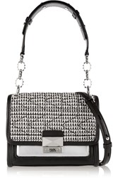 Karl Lagerfeld Tweed And Leather Shoulder Bag