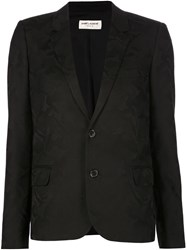 Saint Laurent Tonal Camouflage Blazer Black