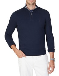 Nautica Quarter Zip Cotton Blend Sweater Navy