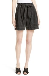 Tracy Reese Women's Stripe Soft Shorts Black White
