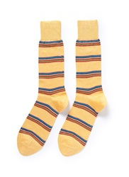 Paul Smith Rainbow Stripe Cotton Blend Socks Multi Colour Yellow
