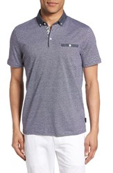 Ted Baker Men's London Zobelle Chevron Polo Navy