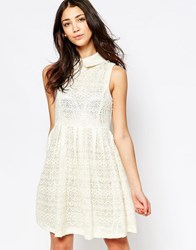 Yumi Lace Skater Dress With Collar Cream