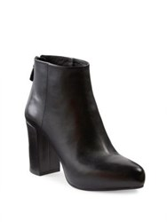 Prada Leather Block Heel Booties Nero