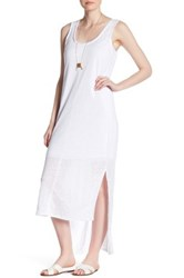 H By Bordeaux Linen Hi Lo Tank Dress White