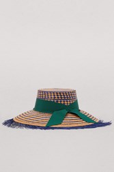 Sensi Studio Straw Hat With Ribbon Royal Blue Ochre
