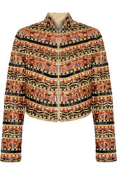 Alice Olivia Mikayla Embellished Embroidered Cotton Jacket Multi