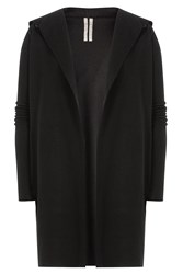 Rick Owens Men Hooded Cashmere Cardigan Black