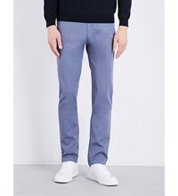 Hugo Boss Tapered Stretch Cotton Chinos Open Blue