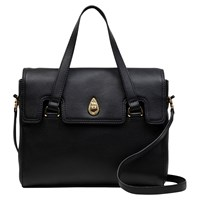 Tula Originals Leather Medium Grab Flapover Bag Black