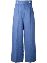 Sportmax Wide Leg Cropped Pants Women Linen Flax 40 Blue