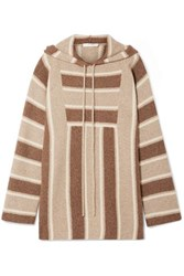 The Row Lina Oversized Striped Cashmere And Silk Blend Hoodie Brown